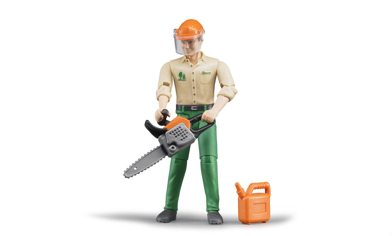 BRUDER FORESTRY WORKER WITH ACCESSORIES 116 SCALE